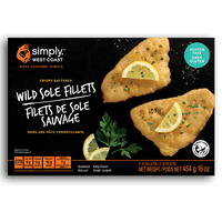 Wild Sole Fillets (8 x 454g per box) - Simply West Coast