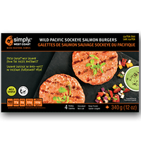 Wild Pacific Sockeye Salmon Burgers (12 x 340g per box) - Simply West Coast