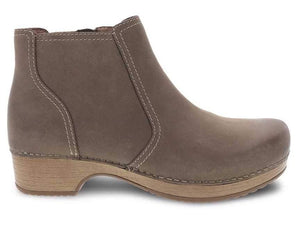 Dansko Barbara Ankle Bootie Taupe Burnished Nubuck