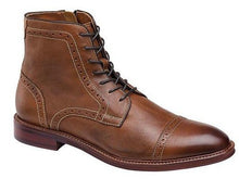 Load image into Gallery viewer, Johnston and Murphy Warner Cap Toe Zip Boot Dark Tan Full Grain Leather