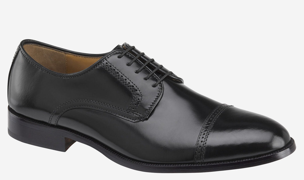 Johnston and Murphy Bradford Cap Toe Black Brush off Leather
