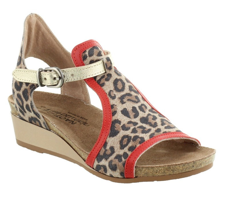 NAOT Fiona Wedge Cheetah Suede/Kiss Red Lthr/Radiant Gold Lthr