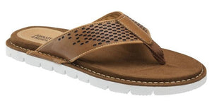Johnston and Murphy Prescott Thong Tan Tumbled FG Leather
