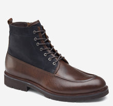 Load image into Gallery viewer, Johnston and Murphy Sanders Moc Toe Zip Boot Dark Brown Oiled Full Grain Navy Suede