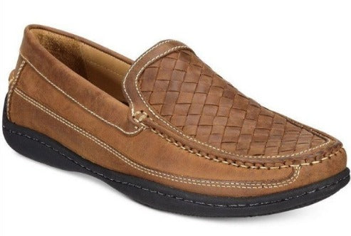 Johnston and Murphy Fowler Woven Venetian Light Tan Oiled Leather