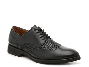 Johnston and Murphy Carlson Woven Wingtip Black Calfskin