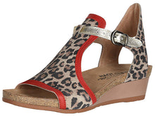 Load image into Gallery viewer, NAOT Fiona Wedge Cheetah Suede/Kiss Red Lthr/Radiant Gold Lthr