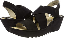 Load image into Gallery viewer, Fly London YAJI Wedge Sandal Black