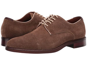 Johnston and Murphy Warner Perf Cap Toe Camel Water Resistant Suede