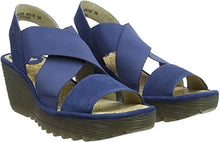 Load image into Gallery viewer, Fly London YAJI Wedge Sandal Blue