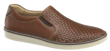 Load image into Gallery viewer, Johnston and Murphy McGuffey Woven Slip-On Tan Full Grain Leather