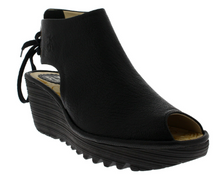 Load image into Gallery viewer, Fly London YUZU Wedge Black