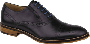 Johnston and Murphy Conard Cap Toe Black Calfskin