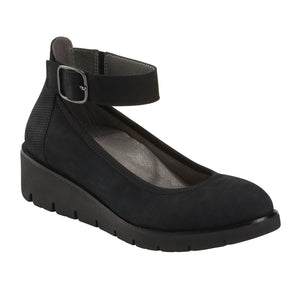 EARTH Zurich Sion Mary Jane Wedge Black Leather