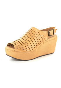 Chocolat Blu Wally Wedge Tan Leather