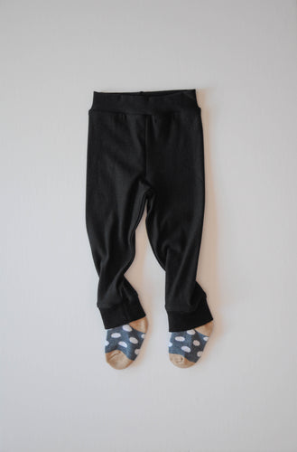 Cute baby leggings with blue polka socks attached