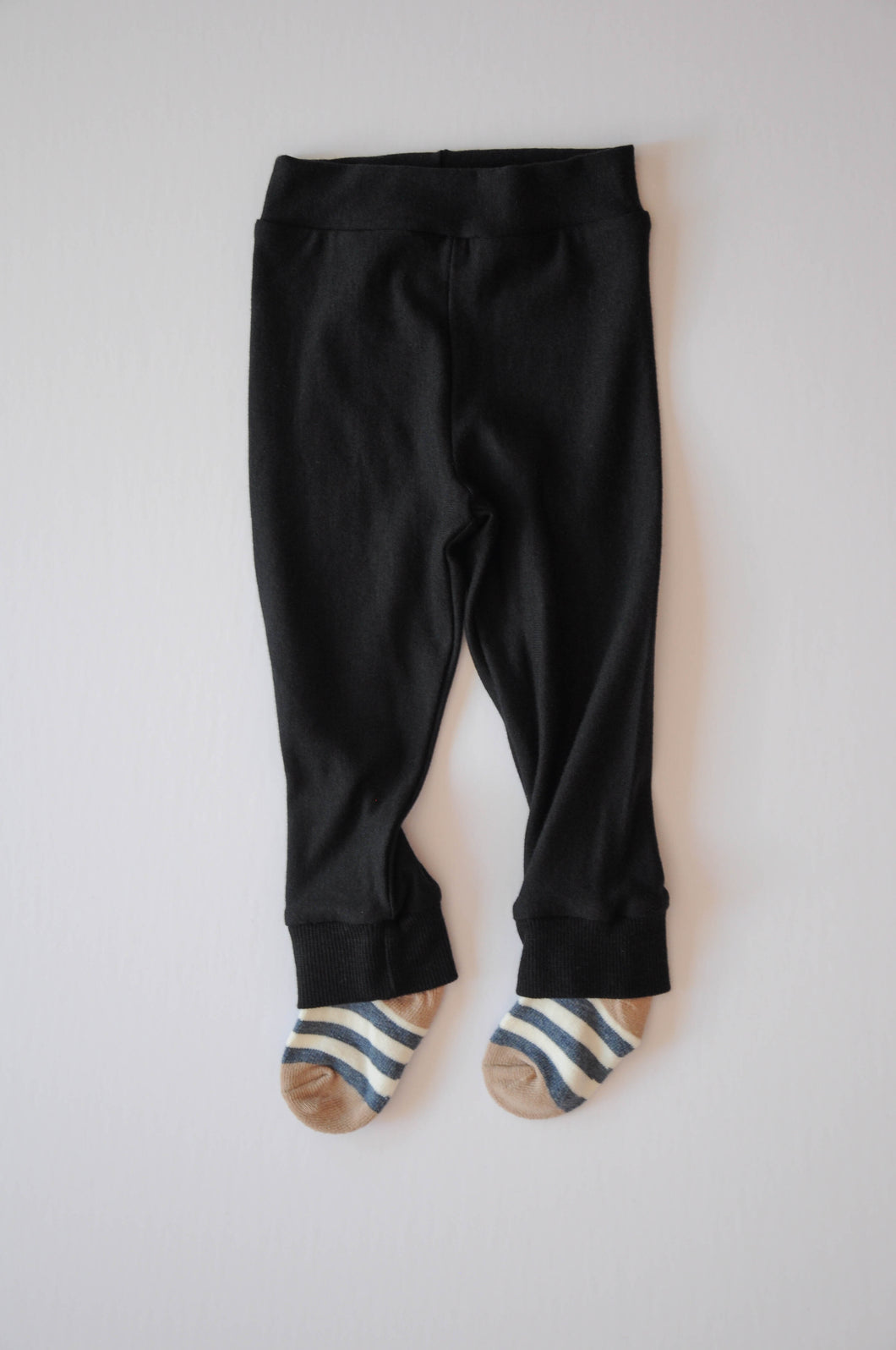 Classic Black Leggings with Blue Thick Stripe Socks