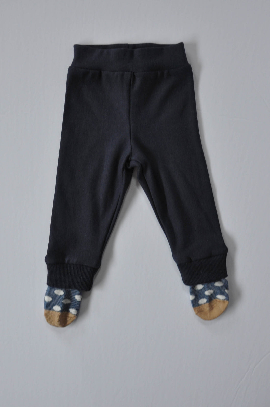Classic Navy Leggings with Blue Polka Dot Socks
