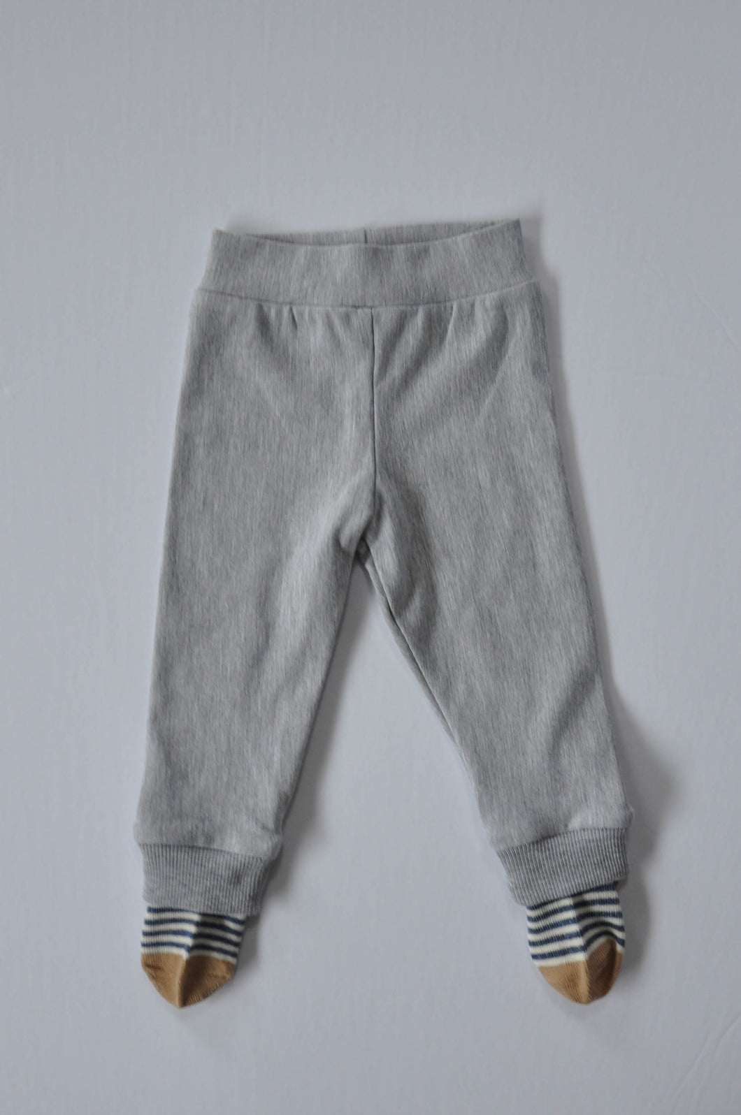 Classic Grey Leggings with Blue Thin Stripe Socks