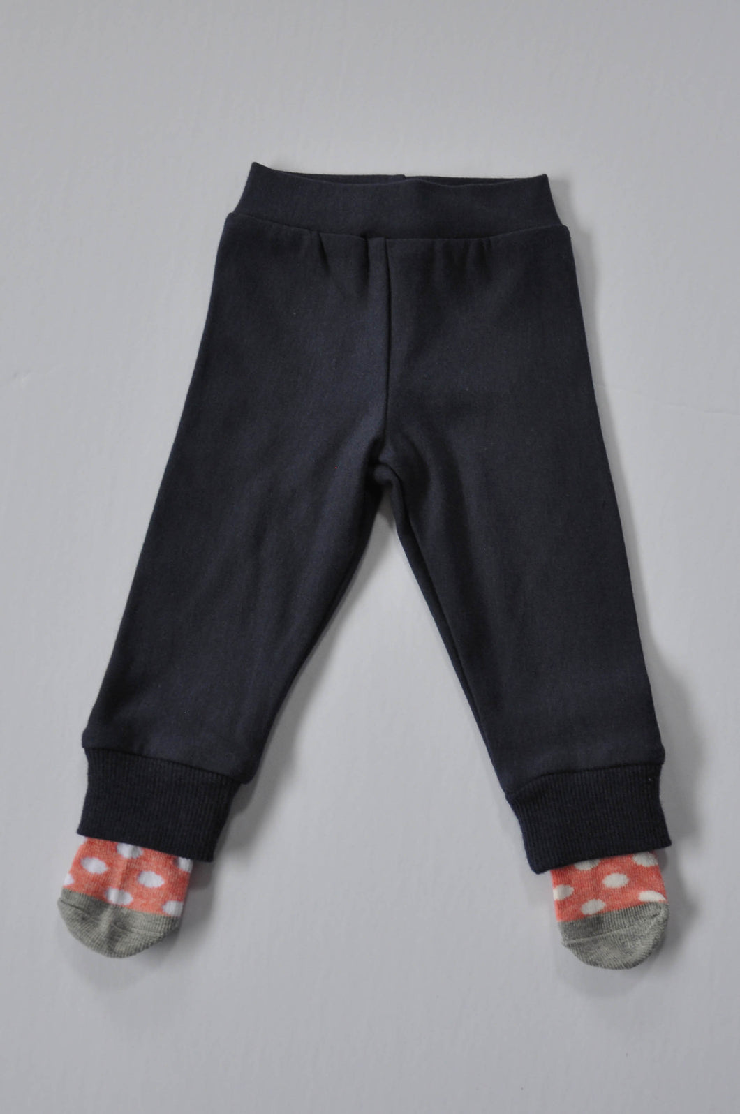 Classic Navy Leggings with Red Polka Dot Socks