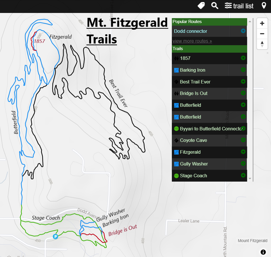 Mount Fitzgerald Mountain bike trails