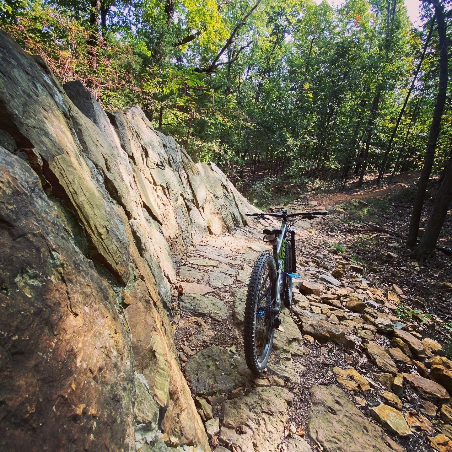 Hand-crafted stone slab wall ride at Fitzgerald Mountain Trails, Springdale