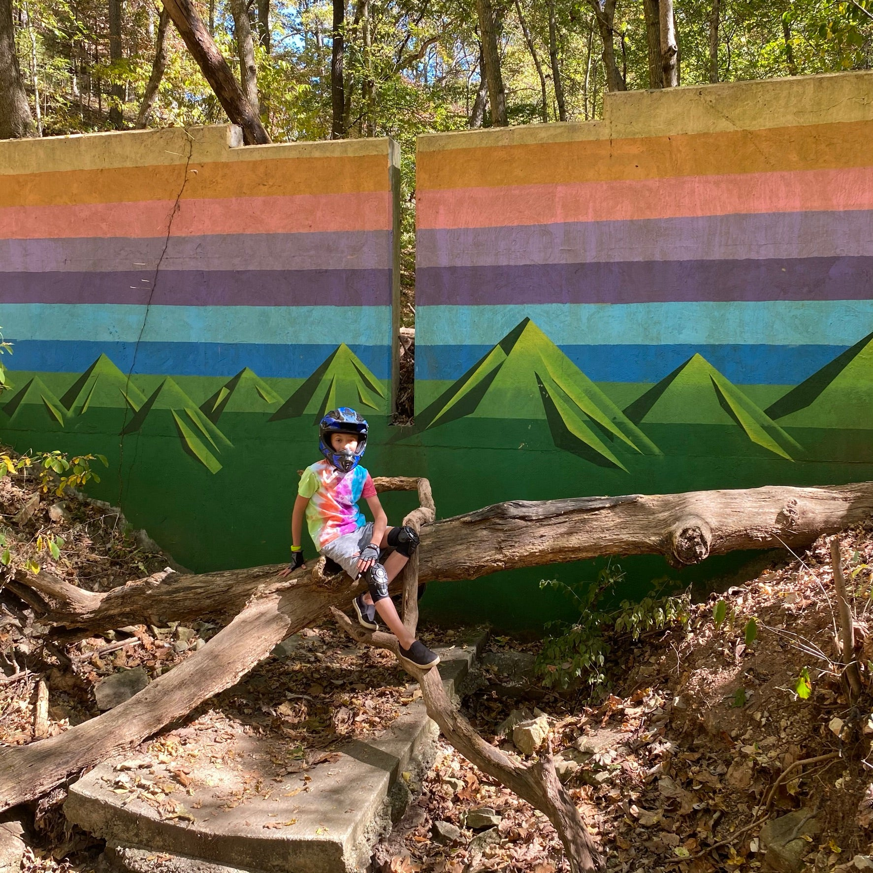 Famous OZ Trails colorful landscape logo mural on Tristan's Trail at Slaughter Pen