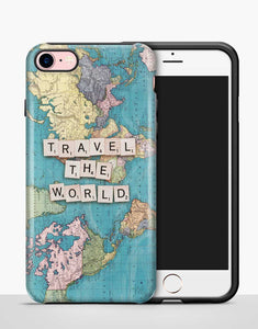 """Travel The World"" feliratú térképes erős telefontok"