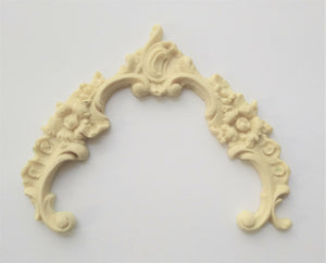 Floral Baroque swag and frame with Rose detail silicone mold