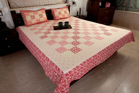 Double Bedsheet designer Set in Cotton Printed Allover in Pink and Red by Jodhaa