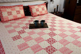 Double Bedsheet designer Set in Cotton Printed Allover in Pink and Red from Jodhaa India