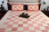 Double Bedsheet designer Set in Cotton Printed Allover in Pink and Red at Jodhaa India