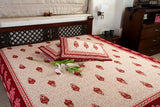 Double bedsheet designer Set in Cotton Printed Allover in Cream and Brown from Jodhaa India