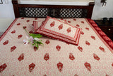 Double bedsheet designer Set in Cotton Printed Allover in Cream and Brown by Jodhaa India