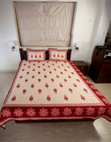 Double bedsheet designer Set in Cotton Printed Allover in Cream and Brown Jodhaa
