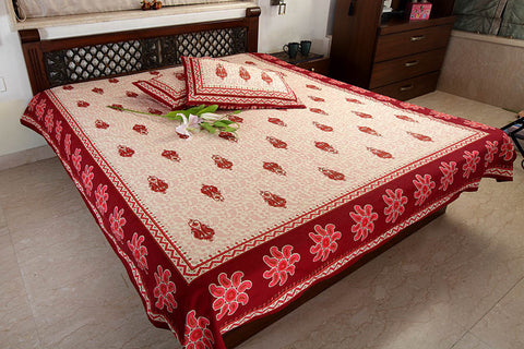 Double bedsheet designer Set in Cotton Printed Allover in Cream and Brown at Jodhaa India