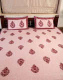 Double bedsheet designer Set in Cotton Printed in Light Purple and Maroon Combo Print at Jodhaa India
