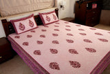 Double bedsheet designer Set in Cotton Printed in Light Purple and Maroon Combo Print by Jodhaa India