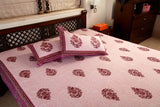 Double bedsheet designer Set in Cotton Printed in Light Purple and Maroon Combo Print from Jodhaa India