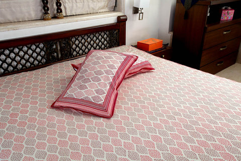 Double bedsheet designer Set in Cotton Printed in Orange and Brown Combo with Red Border