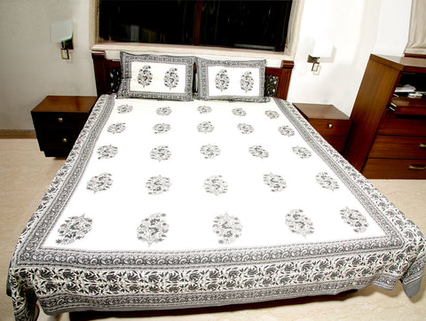 Jodhaa Double bedsheet Set in Cotton Printed in Off White and Grey Floral Print with Gray Border- Queen Size  11BSHD041