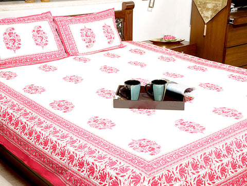Jodhaa Double bedsheet Set in Cotton Printed in off White  and Pink Floral Print with Pink Border- Queen Size  11BSHD042