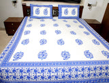 Jodhaa Double bedsheet Set in Cotton Printed in off White  and Blue Floral Print with Blue Border- Queen Size  11BSHD043