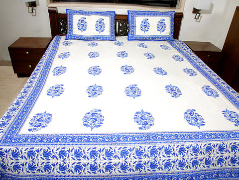 Jodhaa Double Bedsheet Set In Cotton Printed In Off White And Blue Floral  Print With Blue