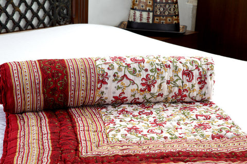 Designer Doubles Cotton Quilt / Razai in Floral print in White / Red Combo