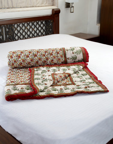 Singles Cotton designer Quilt / Razai in Floral print in White / Brown from Jodhaa India