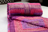 Singles cotton Quilt/ Razai in Pink/Purple/Gold Combo                           12RZSA017