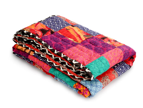 Jodhaa Single Patchwork and Printed reversable quilt / Razai   12RZSA039