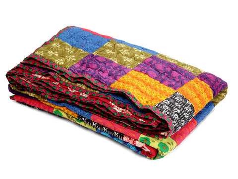 Jodhaa Single Patchwork and Printed reversable quilt / Razai   12RZSA041