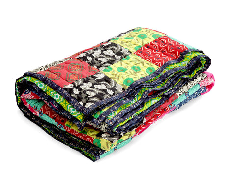 Jodhaa Single Patchwork and Printed reversable quilt / Razai   12RZSA042
